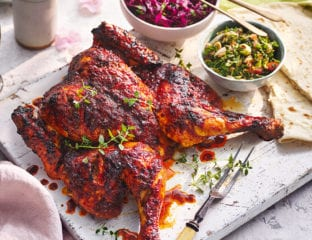 Harissa and honey chicken with almond tabbouleh
