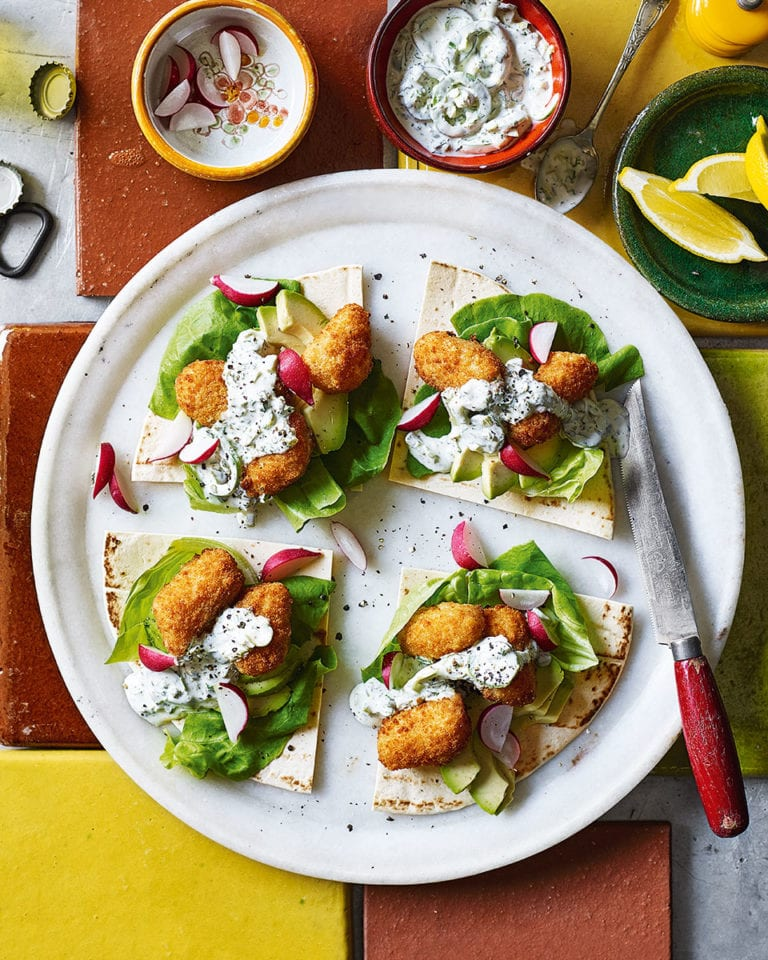 Scampi tacos with jalapeño tartare sauce and avocado