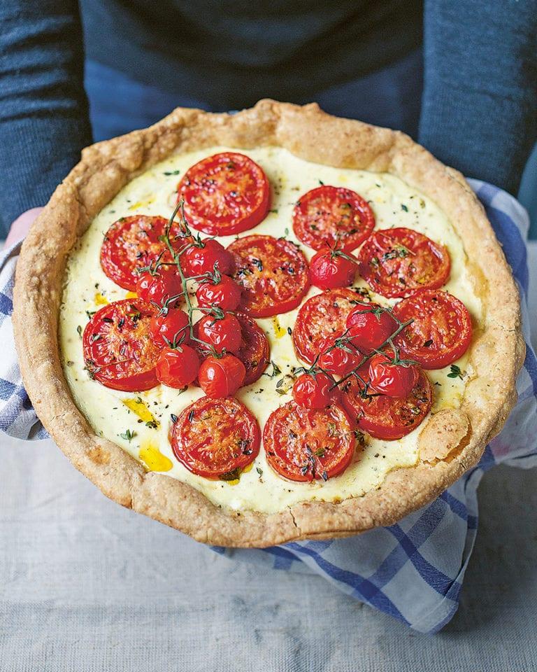 Tomato, crème fraîche and mustard tart