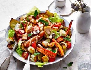 Crispy potato, carrot, halloumi and harissa fatteh