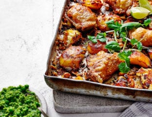 Chicken with peanut roasties and lime, pepper and pea sauce