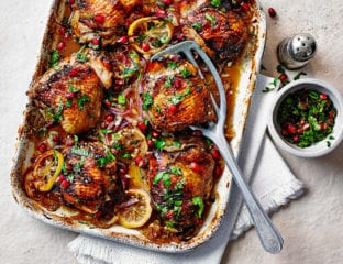 Roast chicken thighs with pomegranate molasses