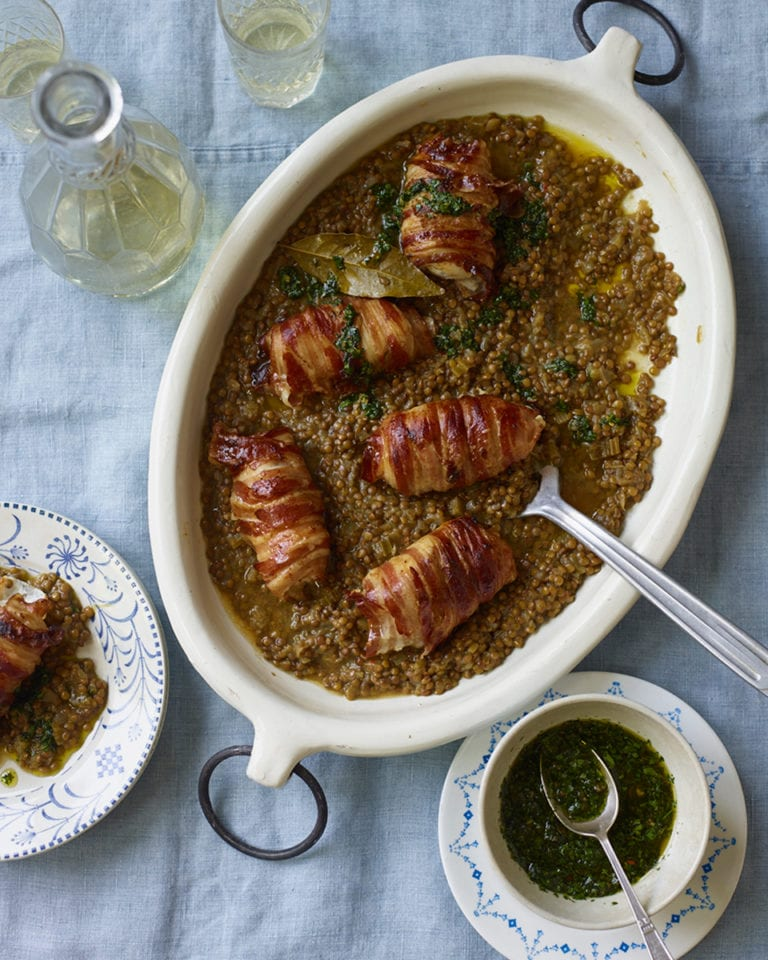 Pancetta-wrapped monkfish with lentils and salsa verde