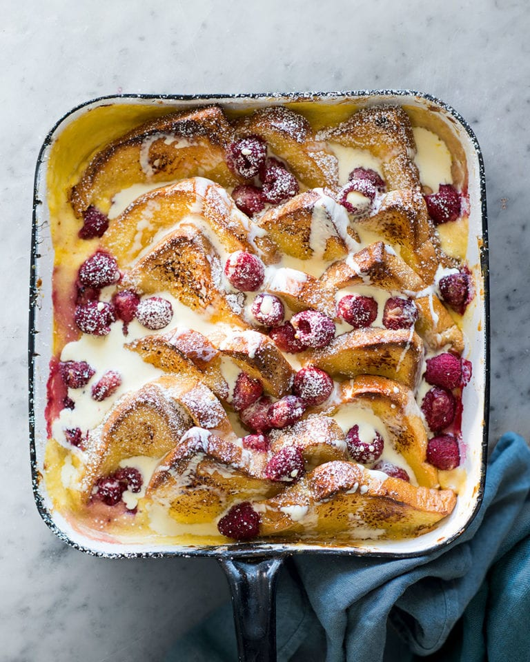 Lemon and raspberry bread and butter pudding