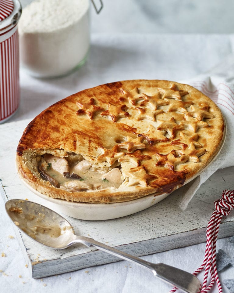Creamy chicken, mushroom and dijon pie