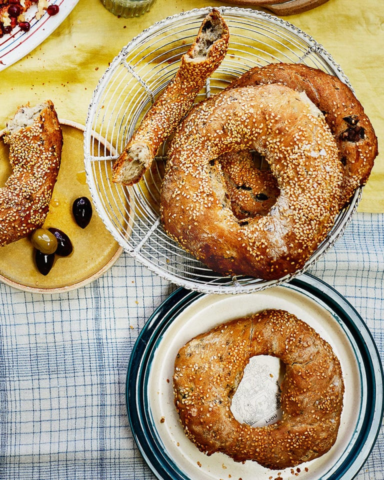 Sesame and black olive koulouri breads