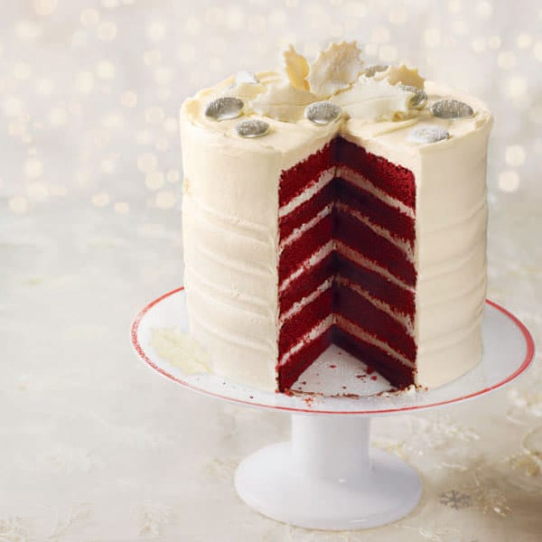 frosted red velvet layer cake