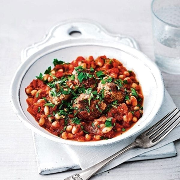 baked beans with turkey meatballs
