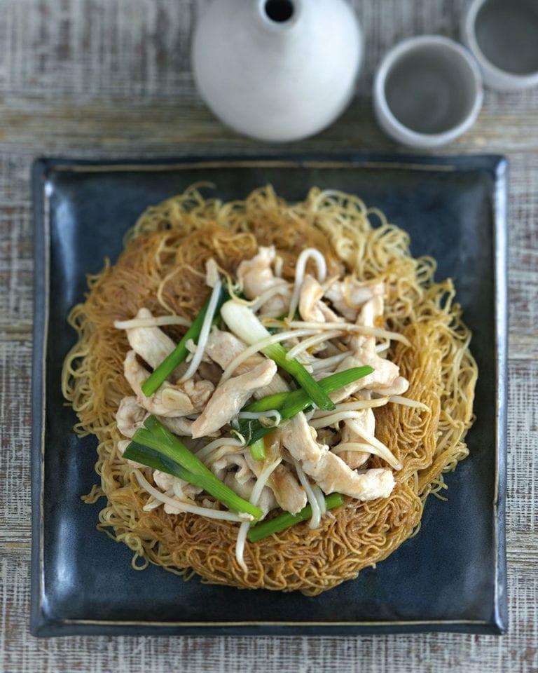 Ken Hom's chicken on crispy noodles