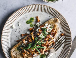 Wild mushroom bruschetta with feta and pesto