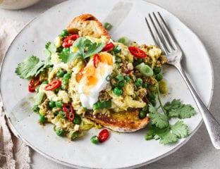 Curried eggs on toast