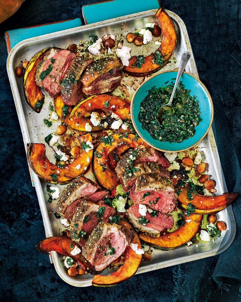 Pumpkin, lamb and feta traybake