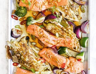Salmon traybake with soy and sesame dressing