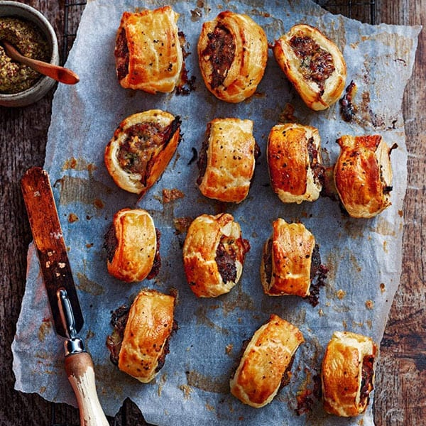 Stilton, date and walnut sausage rolls