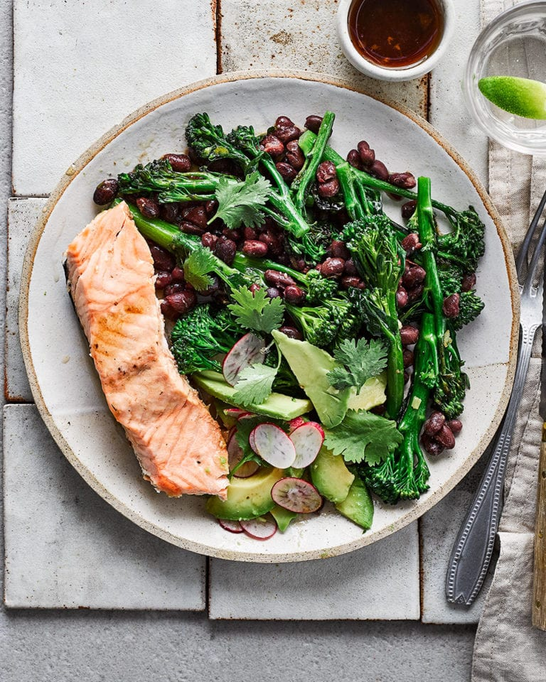 Sesame and soy salmon with lime dressing