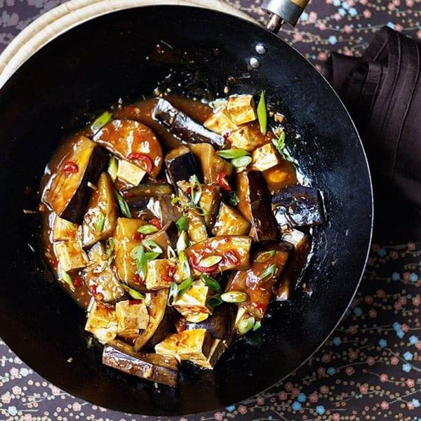 Aubergine and tofu stir-fry