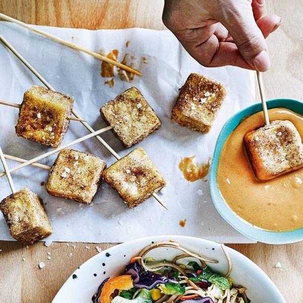 Five-spice smoked tofu nuggets
