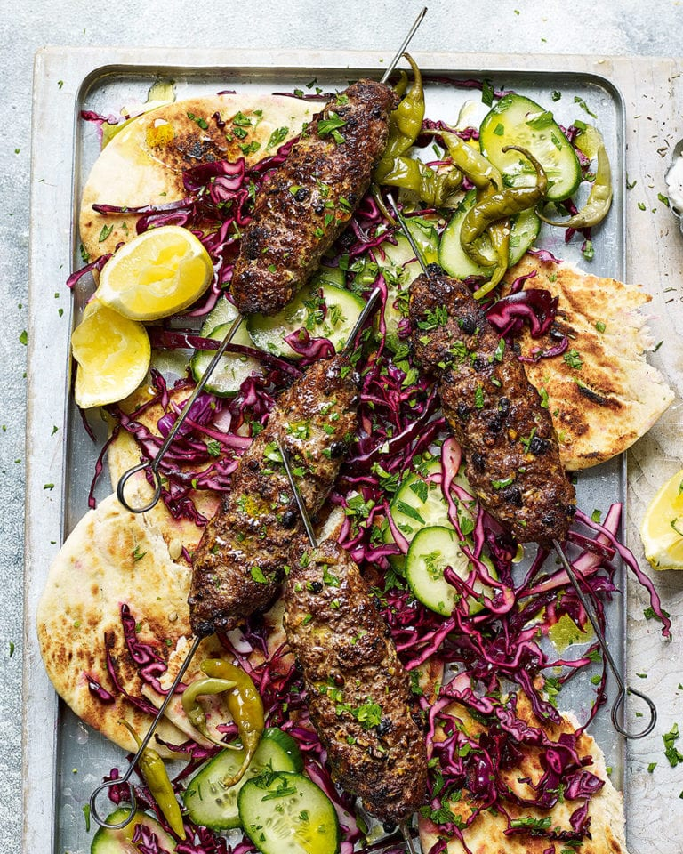 Beef and olive koftas with red cabbage and flatbreads