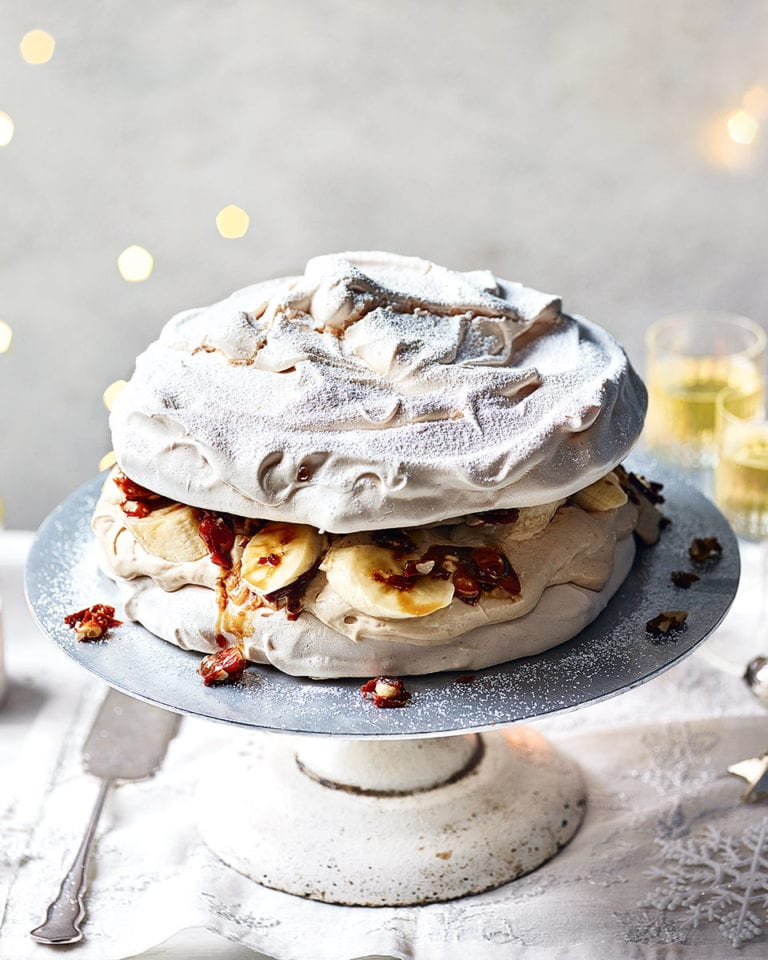 Banana, peanut butter and caramel pavlova