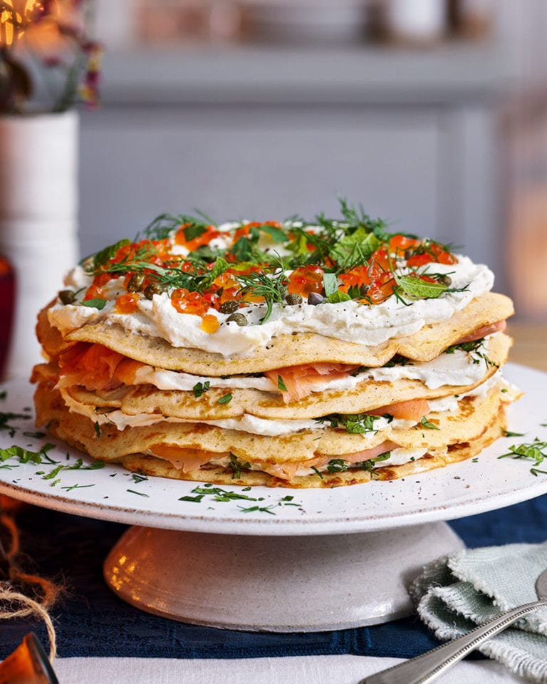 Salmon blini stack