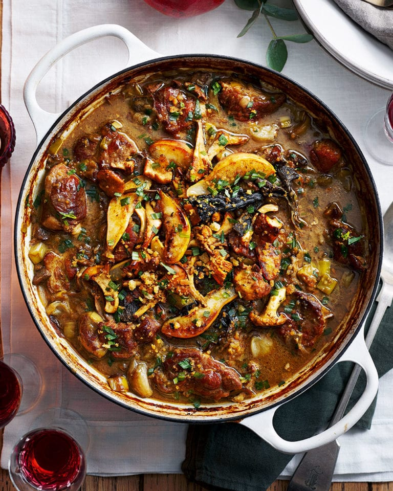 Make-ahead pork, pear and sherry casserole