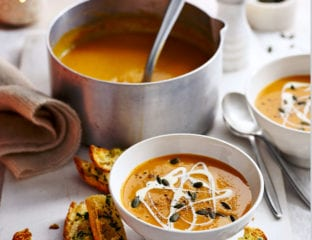 Sweet potato soup with garlic croûtes