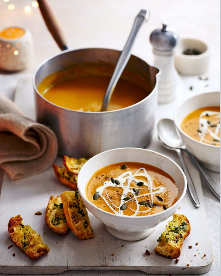 Sweet potato soup with garlic croûtes