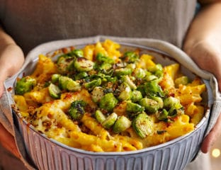 Pumpkin and brussels sprouts pasta bake