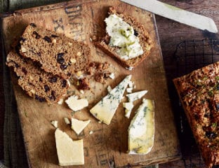 Stout, orange and dried fruit loaf with winter herbs