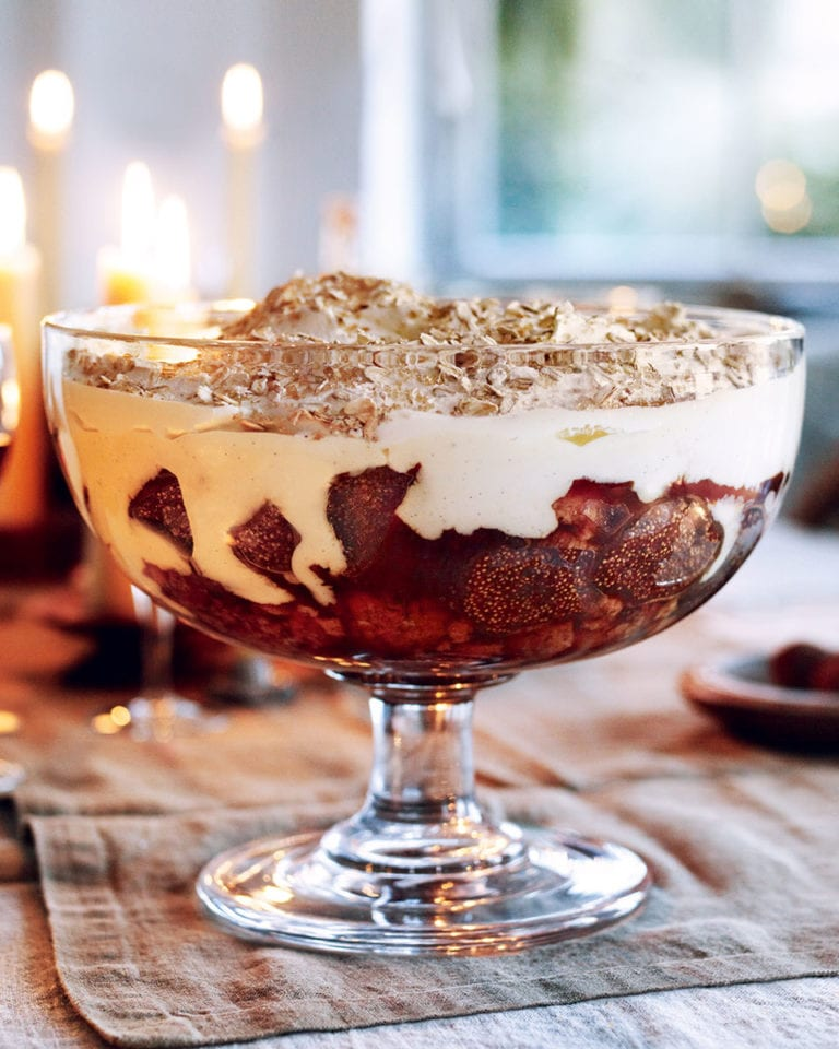 Dried fig and seville orange marmalade custard trifle