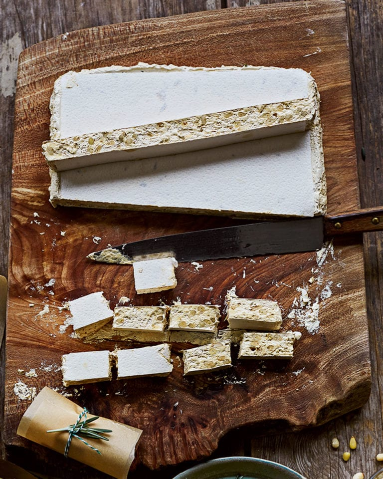 Honey and pine nut nougat
