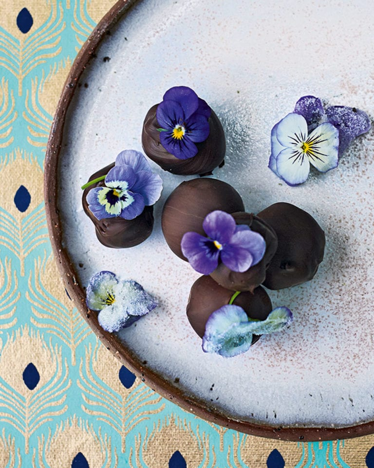 Chocolate-coated flower creams