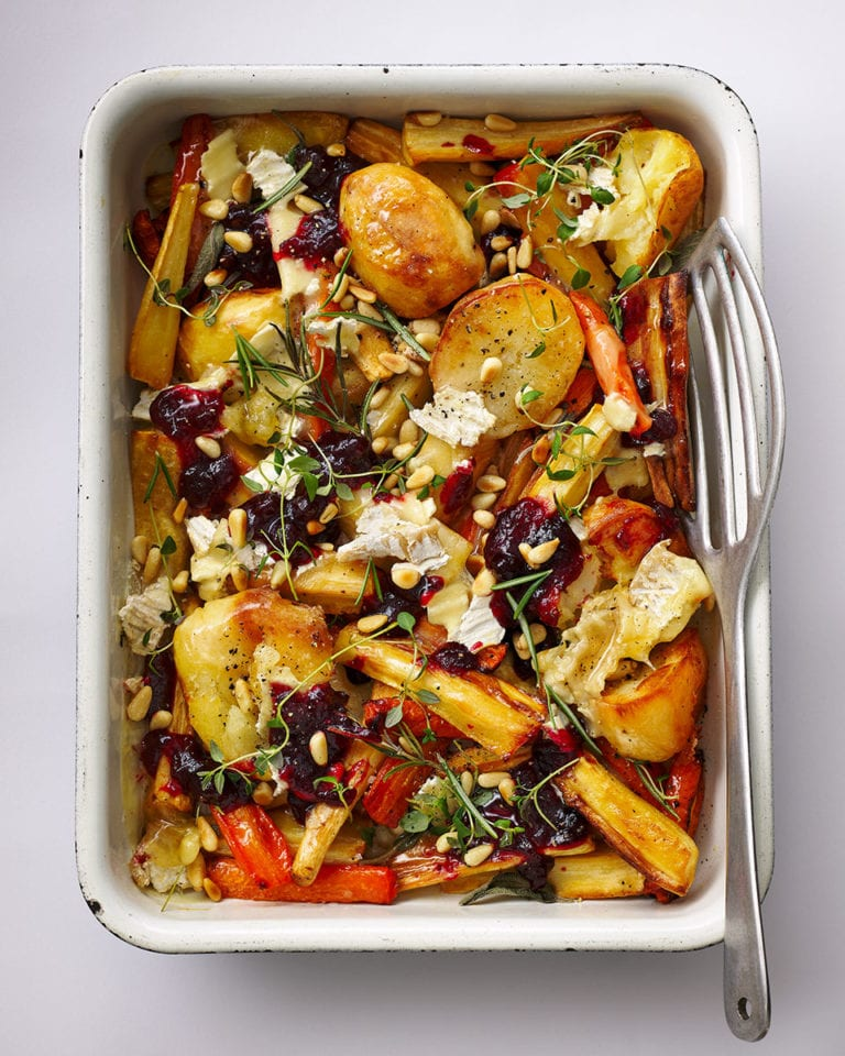 Leftover Christmas veggie traybake with cranberry and brie