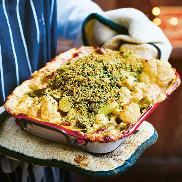 Herb-crusted cauliflower and leek 'cheese'