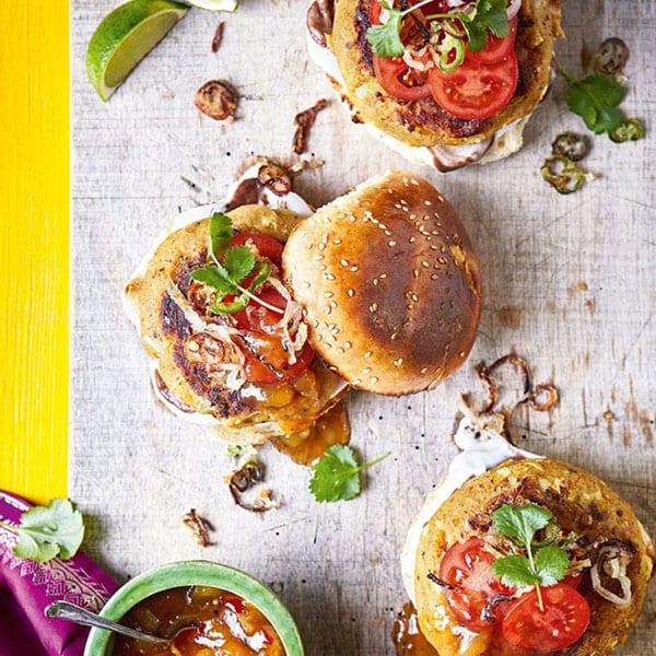 Spicy potato and cauliflower burger