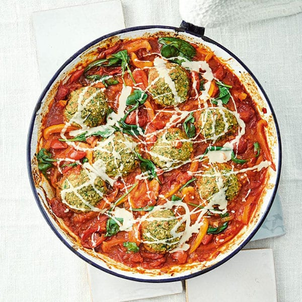 baked falafel in tomato sauce