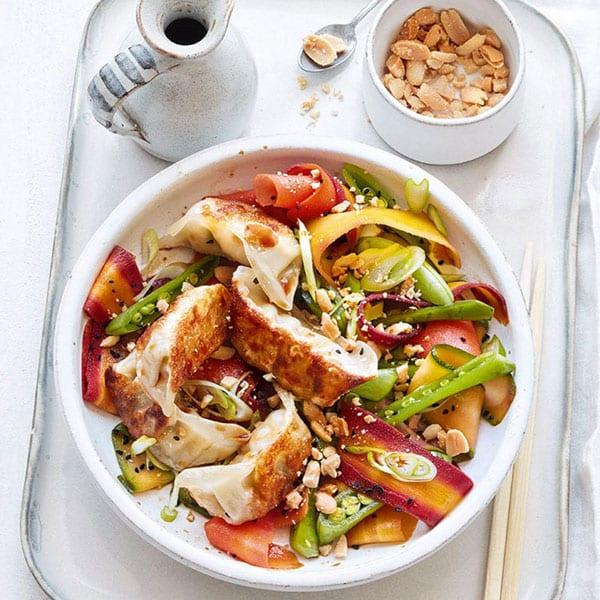 Vegetable gyoza dumpling stir-fry