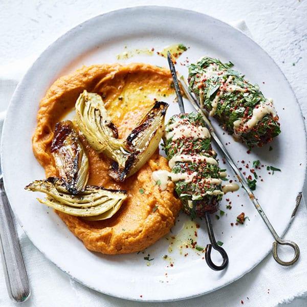 Vegan Turkish kebabs with chilli sweet potato mash and roasted veg