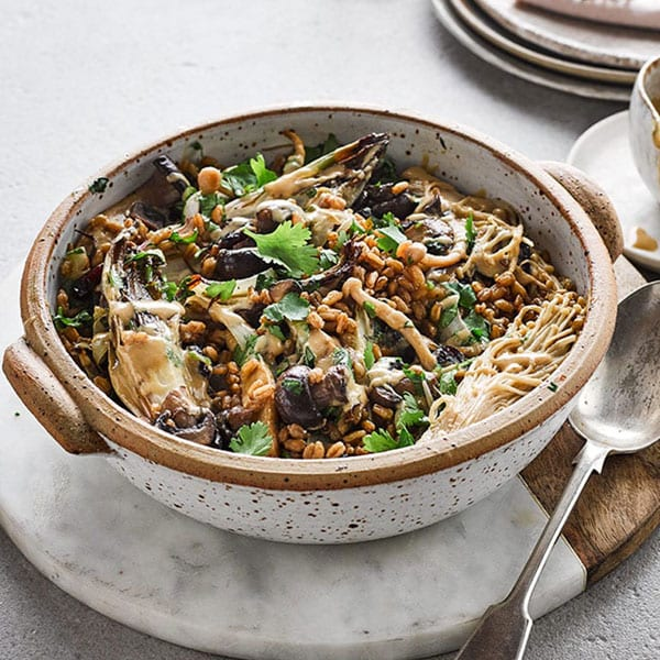 Spelt, chicory and mushroom one pot