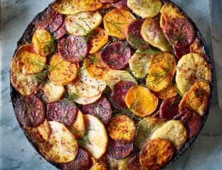 Middle Eastern-spiced nut roast with three-potato topping