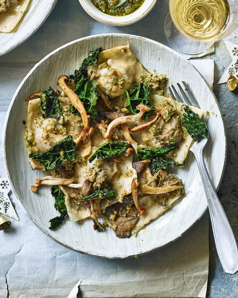 Squash ravioli with mushrooms and sage pesto