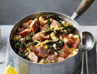 Sausage soup with greens