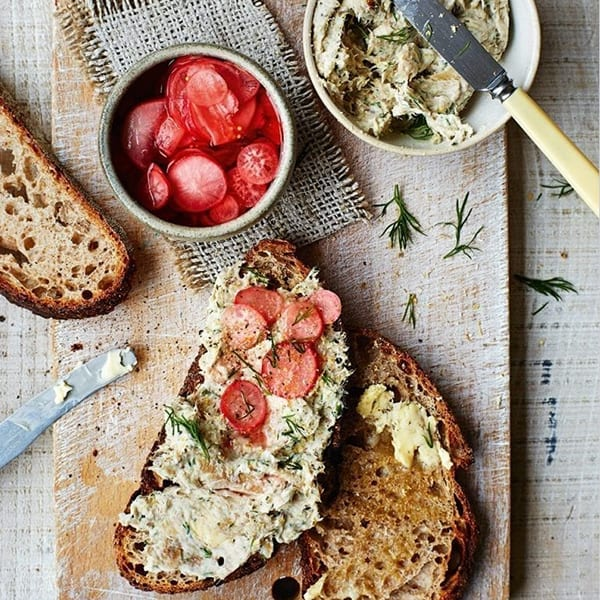Mackerel pâté with quick-pickled radishes and Hoxton Bakehouse stoneground spelt loaf