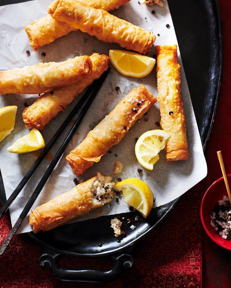 Cripsy fish spring rolls