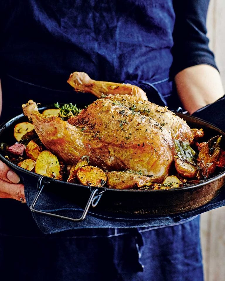 Roast chicken with lemon, garlic and thyme