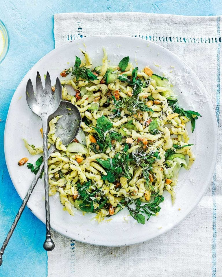 Trofie pasta with watercress, courgette and almonds