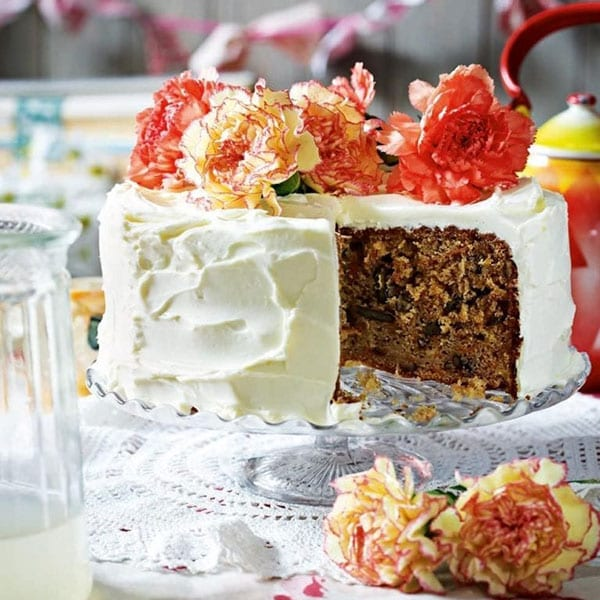 carrot and parsnip cake with rose frosting