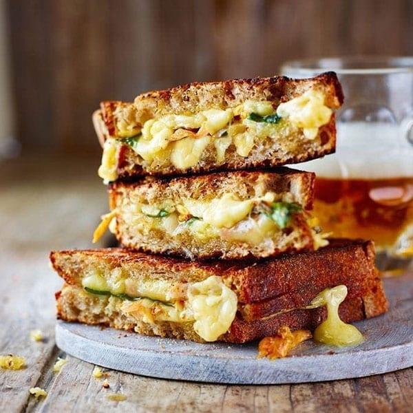 Cheddar, pickled mushroom and wild garlic toastie