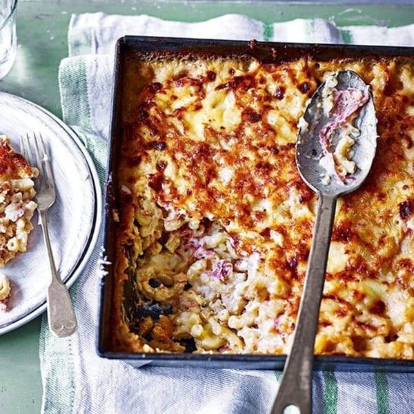 Welsh rarebit and ham hock macaroni cheese