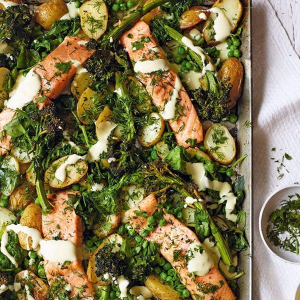 Salmon and broccoli traybake